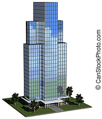 modern hi-rise corporate office building with glass exterior...