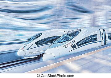 Modern Hi-Speed  Passenger Train. Motion effect.