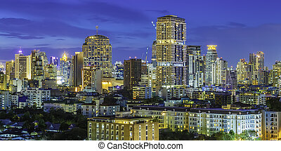 Modern high building of bangkok business city center at twilight. Picture for add text message. Backdrop for design art work.