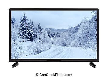 Modern high-definition TV with  picture of the winter landscap