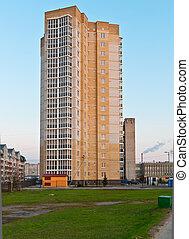 Modern high-rise building on the street. Kaliningrad, Russia...