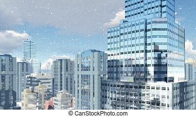 Modern high rise buildings at snowfall day 4K
