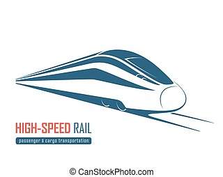 Modern high speed rail emblem, icon, label, silhouette....