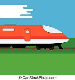Modern high speed train - speed train. Flat style vector...