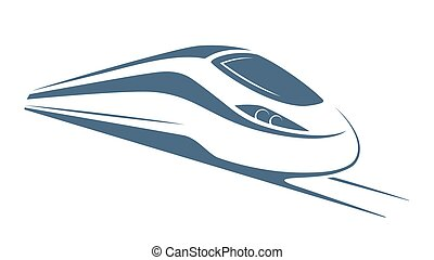 Modern high speed train emblem, icon, label, silhouette. -...