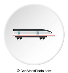 Modern high speed train icon circle