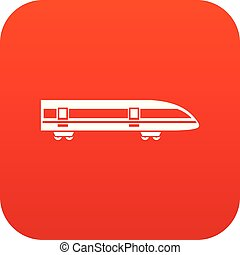 Modern high speed train icon digital red