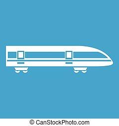 Modern high speed train icon white