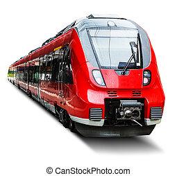 Modern high speed train isolated on white - Creative...