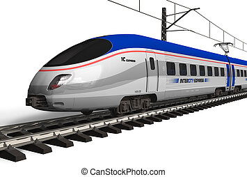 Modern high speed train isolated on white