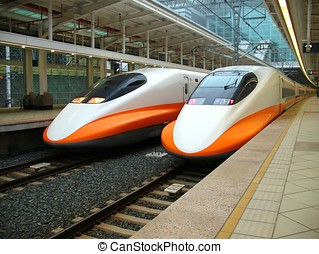 Modern High Speed Train - -- two engines of the recently...