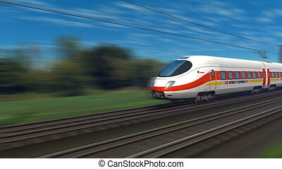 Tracking shot of modern high speed train