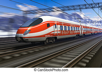 Modern high speed train with motion blur - Red modern high...