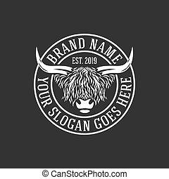 modern highlanders bull logo. Vector illustration.