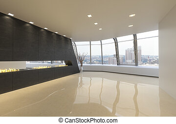 Modern highrise appartment - Empty room of a Highrise modern...
