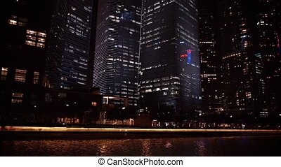 Modern Highrise Buildings at Night - FullHD video -...