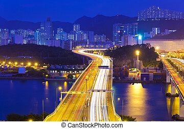 Modern highway in city at night