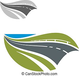 Modern highway or road abstract icon