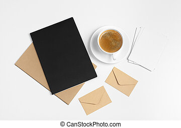 modern hipster style stationery mockup with various paper items, office supplies. Creative photo.