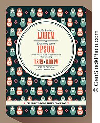 Modern hipster wedding invitation card design
