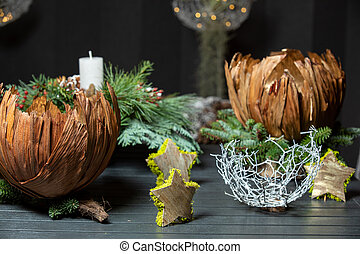 Home decorations on a wooden background in the interior of the room