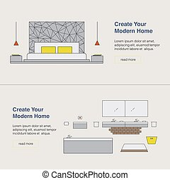 Modern home design template with illustration. Interior Design web banner. Home pages design concept.