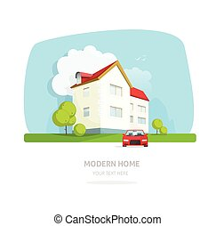 Modern home facade contemporary, house traditional cottage vector