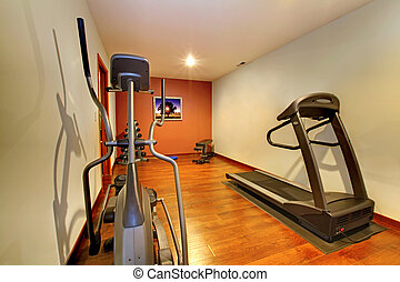 Modern home gym in the basement. - Nice home gym with sport...