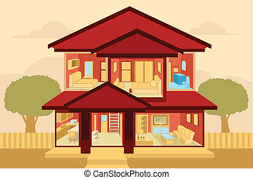 Modern home interior - A vector illustration of modern home...
