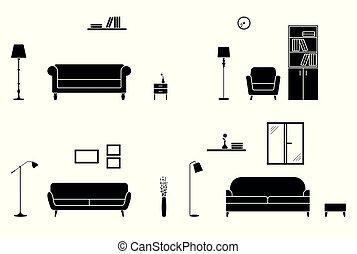 Modern home interior icon set