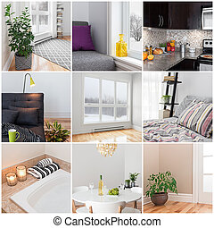 Modern home. Living room, dining room, bedroom, kitchen, bathroom. Collection of 9 images.