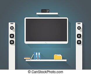 Modern home media entertainment system illustration