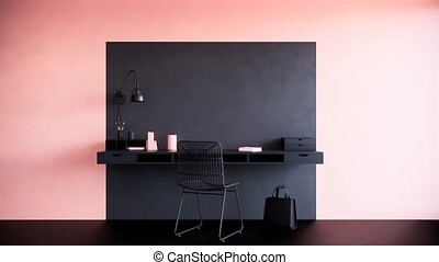 modern home office pink and black interior design, 3d animation video 4k