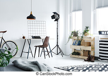 Modern home office - Modern minimalistic home office with...