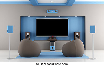 modern home theater - modern brown and blue home theater...