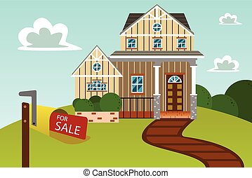 A vector illustration of big beautiful modern house with for sale sign