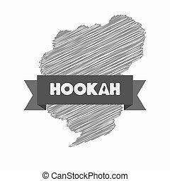 Modern hookah logo on a white background.