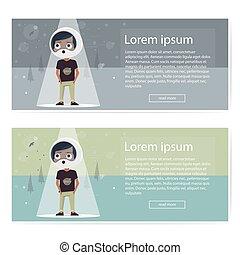Modern horizontal banners, boy astronaut, rocket creative idea, missiles, recruitment flyers, cover infographics.