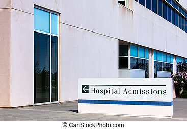 Modern Hospital Admissions Sign with Arrow