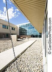 Modern Hospital Building With Courtyard - Modern hospital...