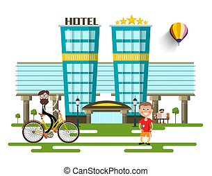 Modern Hotel Buildings. Vector Flat Design City with People.