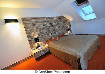 modern hotel room appartment indoor with double bed and lcd tv