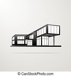 modern house building, real estate icon