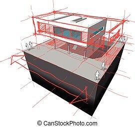 modern house enlargement diagram - diagram of a possible  ...