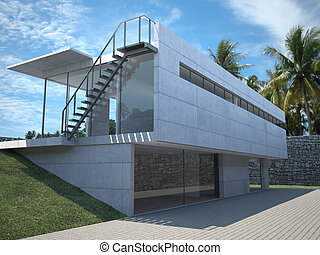 Exterior view of a modern house with palm trees.