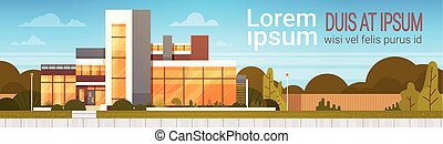 Modern House Exterior Luxury Villa Building Horizontal Banner with Copy Space