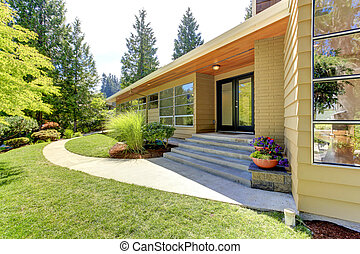 Modern house exterior with glass wall and landscape - House ...