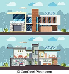 Luxury modern residential two-storied house facade and detailed furnished interior section. Minimalistic eco-friendly architecture reusing energy, reserving nature resources flat vector illustration