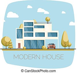 Modern house. Flat design vector illustration.