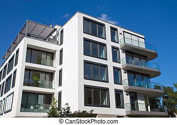 Modern house in Berlin - A new modern apartment house seen...